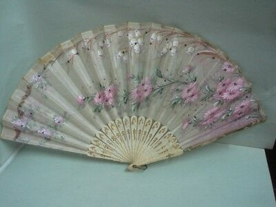 Antique hand-painted fan on silk and sequins with flowers