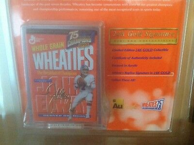 John Elway Wheaties 24K Gold Signature New Collectible 75 Year ('24-'99)