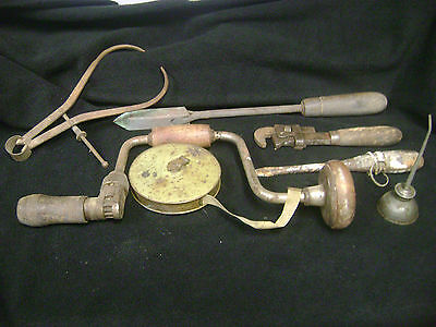 Vintage Tool Lot Drill Soldering Iron Pipe Wrnch Cloth Rule Oil Can Etc