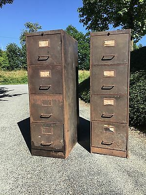 Antique French Industrial Metal Four Drawer Filing Cabinets x 2 Rustic Condition