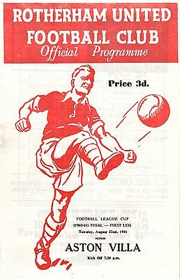1961 Rotherham United v Aston Villa, 1st League Cup Final, PERFECT CONDITION