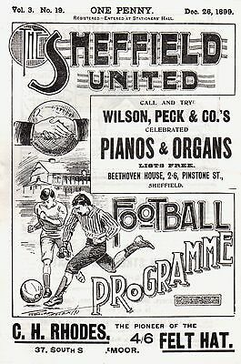 1899 Sheffield United v Sheffield Wednesday, friendly, PERFECT CONDITION