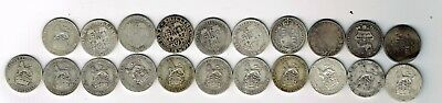 21 different sterling shilling coins 1817 - 1919 : 113.4g