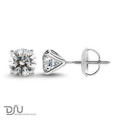 2.17 Ct Round Cut SI1/D Diamond Stud Earrings 14K White Gold