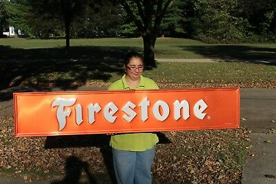 "Large Vintage 1967 Firestone Tires Gas Station Oil 72"" Embossed Metal Sign~Nice"