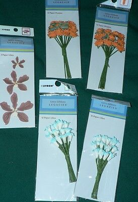 Paper craft flowers floral accent orange blue scrapbooking collage art Lot of 5