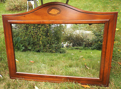 """Large wood framed rectangular wall mirror, inlaid marquetry shell motif 31x22"""""""