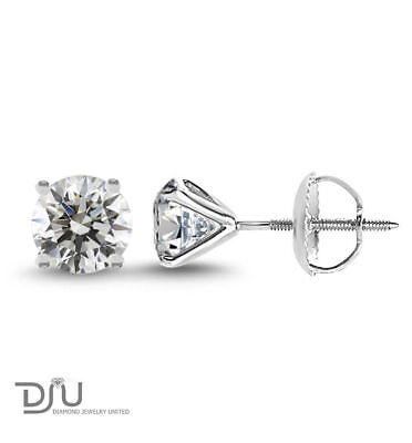 2.02 Ct Round Cut SI2/D Diamond Stud Earrings 14K White Gold