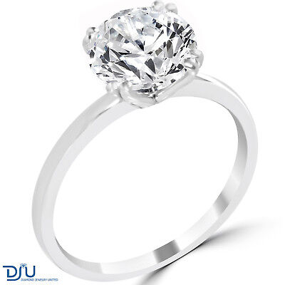 3.31 Ct Round Cut SI3/F Diamond Engagement Ring 14K White Gold