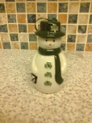 Watervale Ireland Parian China Shamrock Snowman Xmas Tree Decoration