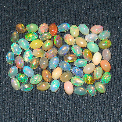 19.70 Cts/60 Pcs ~ Certified Lot Natural Ethiopian Opals ~ AAA Strong Color Play