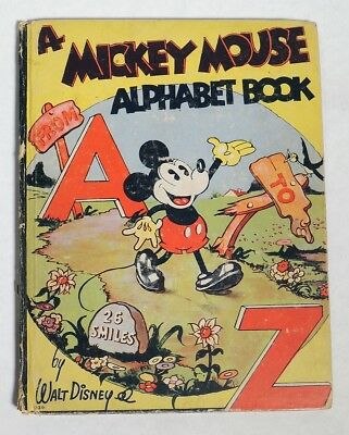 M162 Vintage Walt Disney A MICKEY MOUSE Alphabet From A to Z Book Whitman 1936 [