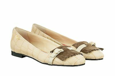 Mori Made Italy Flats Schuhe Shoes Ballerina Kroco Suede Leather Beige Nude 45