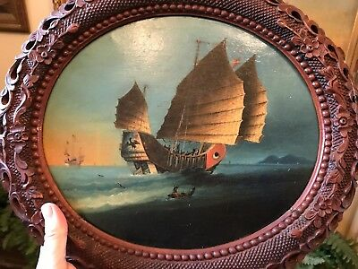 ORIGINAL Junk in Hong Kong Harbour 19 th century Chinese Oil on Canvas PAINTING