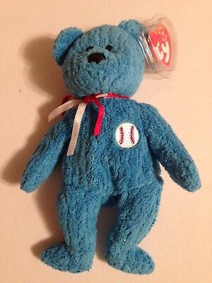 ADDISON the Blue Baseball Bear 2001 Ty Beanie Baby Plush Toy NEW with Tags