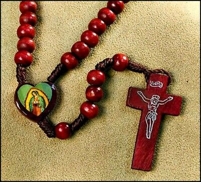 Our Lady of Guadalupe Wood & Cord Rosary NEW! Catholic Faith Virgin Mary
