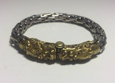 Vintage Chinese Sterling Silver & Brass Double Dragon Bracelet
