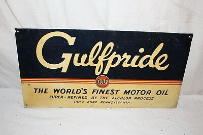 "Vintage 1950's Gulf Gulfpride Motor Oil Gas Station 2 Sided 22"" Metal Sign"