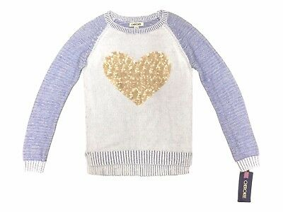 Cherokee Girls Size Large 10/12 Periwinkle Blue Gold Sequin Heart Sweater NEW
