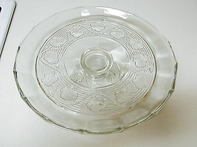 Beautiful Clear Glass Pedestal Cake Plate ~ Flowers on Top