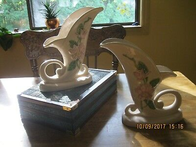 Pair of - HULL Magnolia Cornucopia Vase #H-1 -8 1/2 -- Pristine condition
