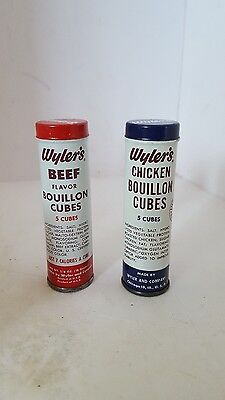 2 Vintage 1956 Advertising Tin Tubes WYLER'S BEEF CHICKEN BOUILLON CUBES
