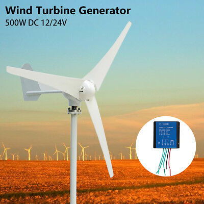 400W AC/DC 12/24V Wind Turbine Generator 3/5 Blades Kit With Charge Controller