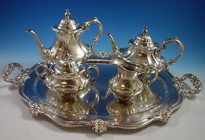 Hampton Court by Reed & Barton Sterling Silver Tea Set 4pc with Tray (#1716)