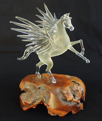 "Beautiful Vintage Crystal Pegasus Horse on Wooden Base W/ 8"" Wing Span"