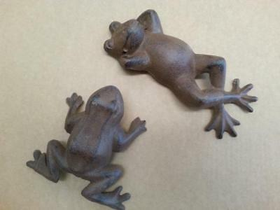 Two Rustic Cast Iron Frogs Garden Ornament