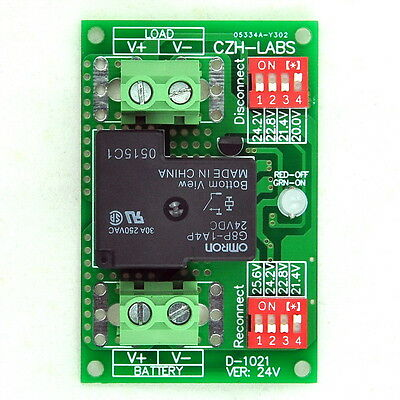 Low Voltage Disconnect Module LVD, 24V 30A, Protect/Prolong Battery Life.