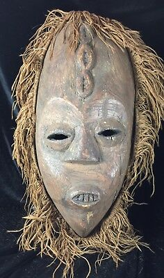Rare Mask Congo African Dogon Wood Carved Antique Primitive Art Chokwe Antique