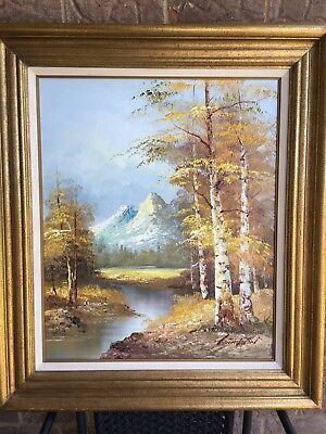 Vintage G.Whitman Large Framed Oil on Canvas Painting Landscape Mountain Stream