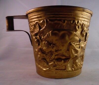 Greek Brass Cup Margo Signed Vapheio Hand Made Repousse Historic Bull Design
