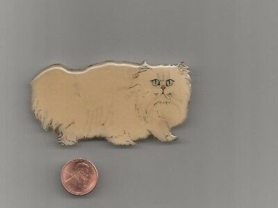 Vintage Jewelry Bonnie Moreno Brooch Pin White Persian Cat Designer #43 Signed