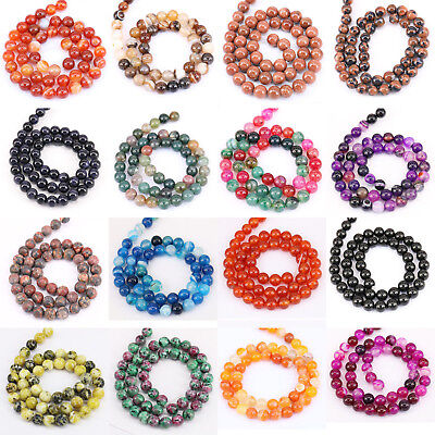 "15"" Natural Colorful Stone Agate Gemstone Quartz Round Loose Spacer Beads 4-10mm"