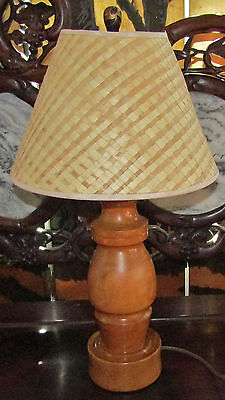 "HAWAIIAN WOOD LAMP Possibly Milo WITH LAUHALA SHADE 24""T Heavy"