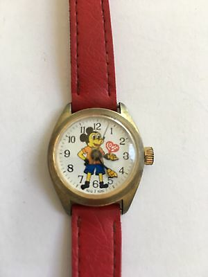 Rare Vintage Stem Wind One Jewel Mickey Mouse Watch - Swiss Parts - Works