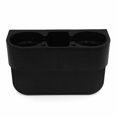 Black Plastic Car Seat Gap Slit 2 Cup Drink Holder Mount Storage Box Organizer