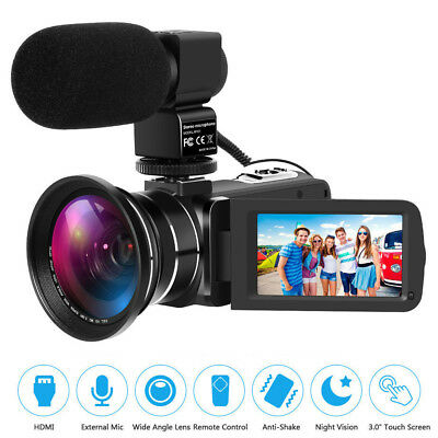 Full HD 1080P Digital Camera 30FPS 24MP Video Camcorder Wide Angle & Microphone