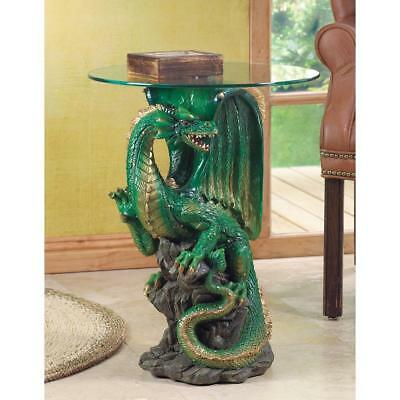 "LARGE 23"" dragon medieval throne statue end bedside table night stand glass top"