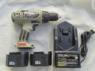 "Porter-Cable 12V 3/8"" Cordless Drill NiCd, battery packs, charger, case."