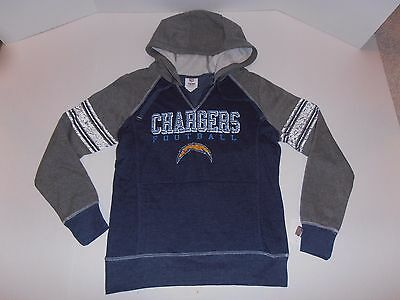 New NFL Team Apparel Chargers Blue Gray Hoodie Fleece Women's Pullover Jacket M