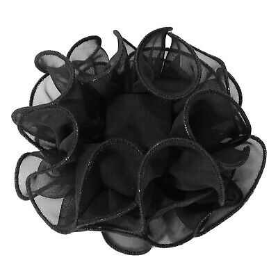 Large Puffy Ruffled Solid Color Chiffon Claw Clip Hair Bows -  H719
