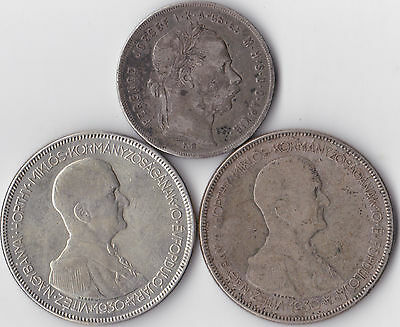 3 Hungarian Silver Coins - 2 x 1930 5 Pengo, 1 x 1879 1 Forint
