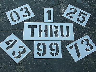 "DOUBLES; (2) DIGIT 12"" NUMBER Stencils for a Parking Lot 1/16"" LDPE BIGGER Edges"