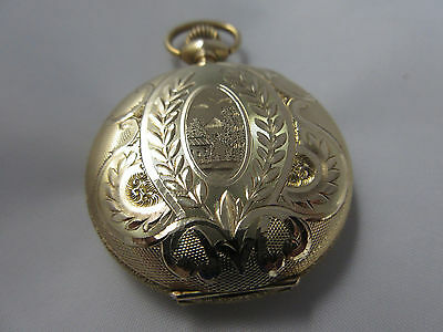LEWY BROS. CO. Woman's 14k Yellow Gold Engraved Pocket or Pendant Watch
