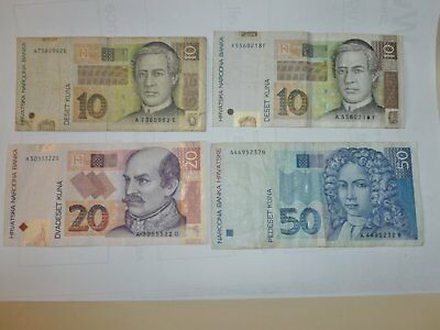 Set of Four Old Croatia Banknotes