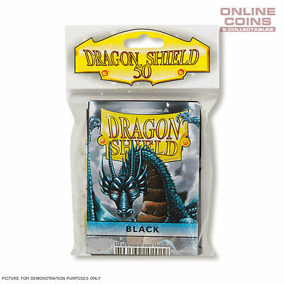 DRAGON SHIELD - Classic Standard Card Sleeves BLACK Pack of 50 #AT-10102