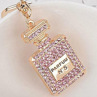 Luxury Gold/PINK/Diamonte Perfume Bottle Keyring/Bag Charm - Mothers Day